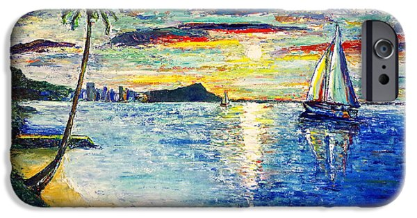 Recently Sold -  - Sailboat iPhone Cases - Hickam Beach Sunrise iPhone Case by Jo Gerrior