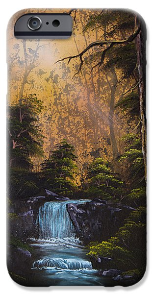 Bob Ross Paintings iPhone Cases - Hidden Brook iPhone Case by C Steele