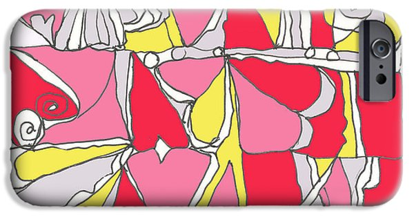 Abstract Digital Drawings iPhone Cases - Hidden Hearts II iPhone Case by L