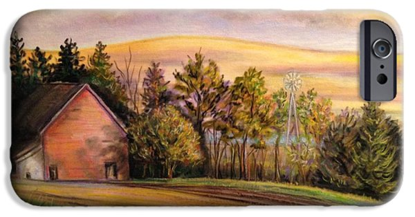 Barn Landscape Pastels iPhone Cases - Hidden Lake iPhone Case by Julie Lemons