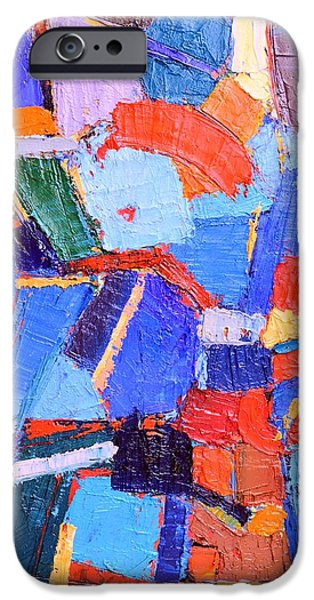 Blue Abstracts iPhone Cases - Hidden Poppies - Abstract Modern Art Original Palette Knife Oil Painting By Ana Maria Edulescu iPhone Case by Ana Maria Edulescu