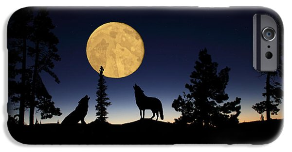 Preditor iPhone Cases - Hidden Wolves iPhone Case by Shane Bechler