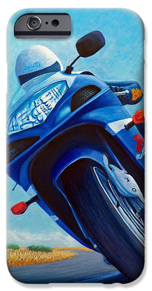 Motorcycle iPhone Cases - High Desert Pass - Suzuki GSXR1000 iPhone Case by Brian  Commerford