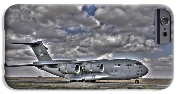 Iraq iPhone Cases - High Dynamic Range Image Of A C-17 iPhone Case by Terry Moore