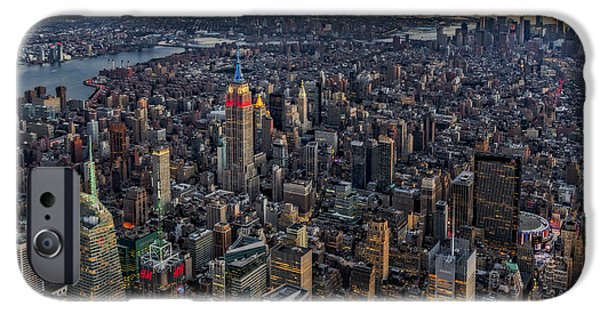 One iPhone Cases - High Over Manhattan iPhone Case by Susan Candelario