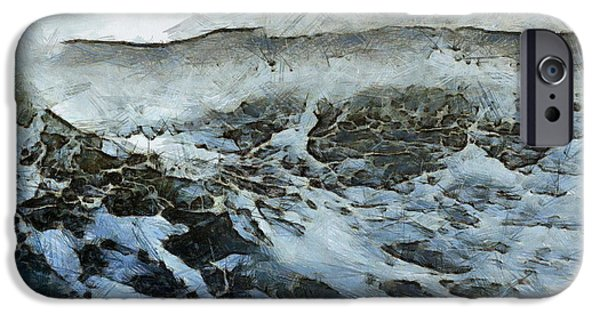 Abstract Digital iPhone Cases - High Seas  iPhone Case by Richard Worthington