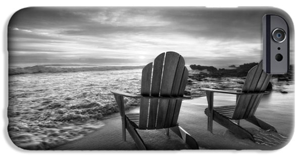 Ocean Sunset iPhone Cases - High Tide in Black and White iPhone Case by Debra and Dave Vanderlaan