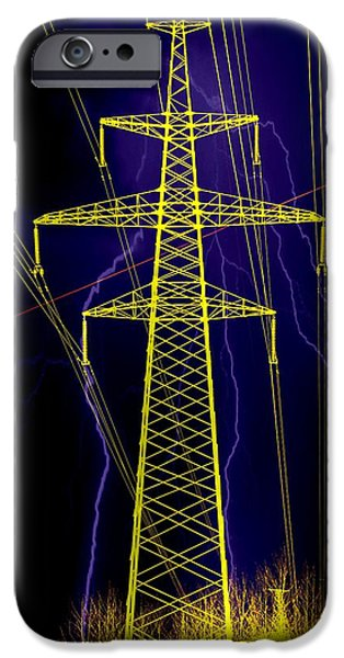 Electrical iPhone Cases - High-voltage line - discharges. iPhone Case by Alexey Bazhan