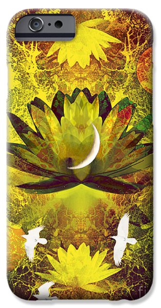 Water Lilly iPhone Cases - Higher Self Frequency iPhone Case by Robert Ball