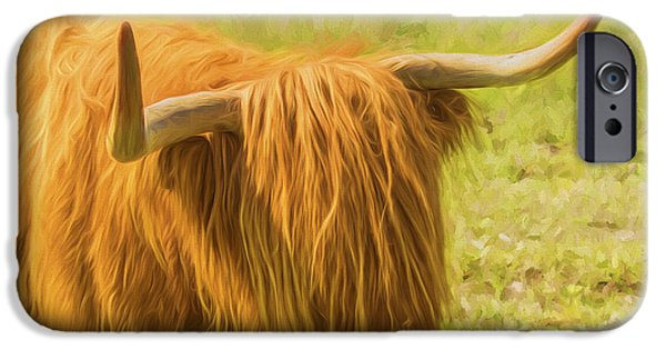 Farm Fields Paintings iPhone Cases - Highland Cow iPhone Case by Veikko Suikkanen