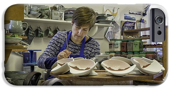 Painter Photographs iPhone Cases - Highland Stoneware Artist at Work iPhone Case by Fran Gallogly