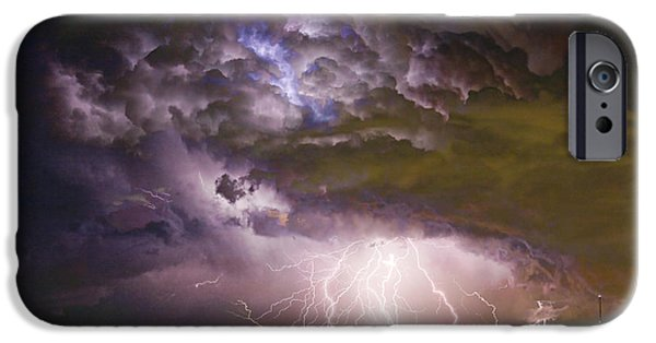 Power iPhone Cases - Highway 52 Storm Cell - Two and half Minutes Lightning Strikes iPhone Case by James BO  Insogna