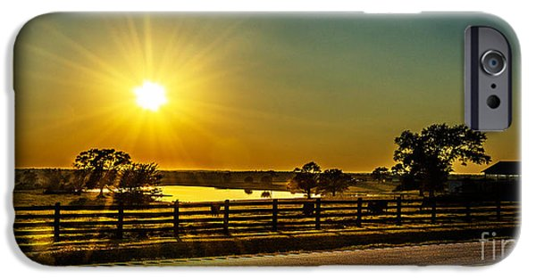 Farm Tapestries - Textiles iPhone Cases - Highway 53 Sunset iPhone Case by James Hennis