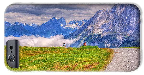 Snow iPhone Cases - Hiking At Grindelwald iPhone Case by Susan Dost
