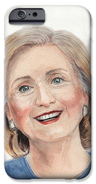 First Lady Portrait Drawings iPhone Cases - Hillary Clinton iPhone Case by Igor Bazilevskii