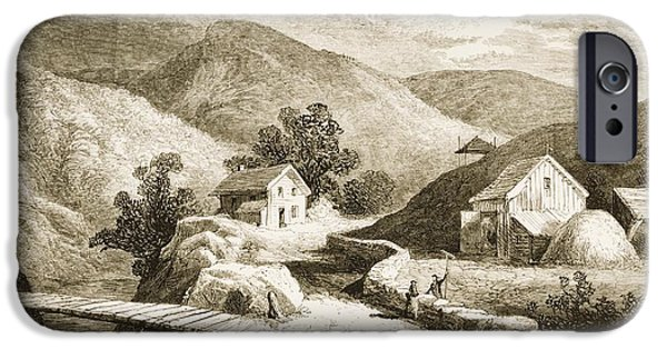 Agriculture Drawings iPhone Cases - Hills Of New England In 1870s. From iPhone Case by Ken Welsh