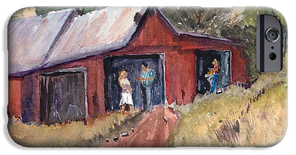 Old Barns Drawings iPhone Cases - Hillside Talk - Rural Barn - Landscape iPhone Case by Barry Jones