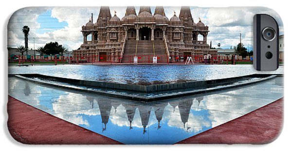 Hindu Goddess iPhone Cases - Hindu Temple BAPS Shri Swaminarayan Mandir iPhone Case by Peter Dang