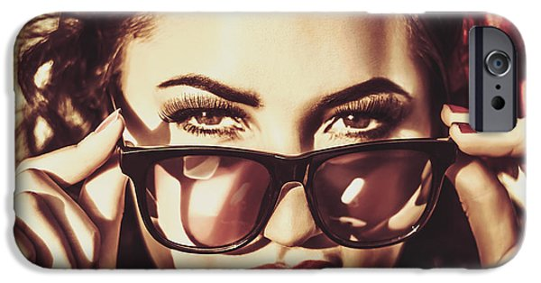 60s Hair iPhone Cases - Hip 60s pinup girl in classic eyewear sunglasses iPhone Case by Ryan Jorgensen