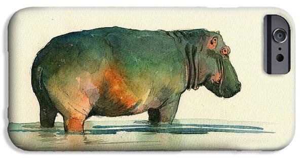 Hippopotamus iPhone Cases - Hippo watercolor painting iPhone Case by Juan  Bosco
