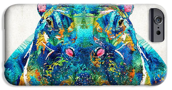 Cute. Sweet iPhone Cases - Hippopotamus Art - Happy Hippo - By Sharon Cummings iPhone Case by Sharon Cummings