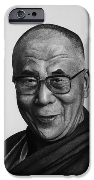 Buddhism iPhone Cases - His Holiness The Dalai Lama iPhone Case by Vishvesh Tadsare