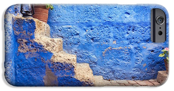 Catherine White Photographs iPhone Cases - Historic Blue Stairs iPhone Case by Jess Kraft