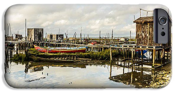 Boat iPhone Cases - Historic Fishing Pier In Portugal III iPhone Case by Marco Oliveira