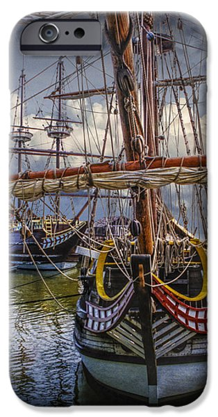 Historic Schooner iPhone Cases - Historic Jamestown Ships iPhone Case by Randall Nyhof