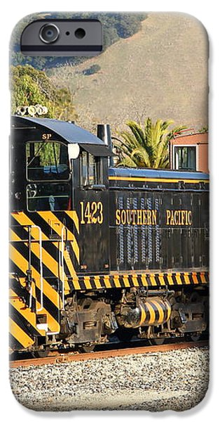 Historic Niles Trains in California . Old Southern Pacific Locomotive and Sante Fe Caboose . 7D10821 iPhone Case by Wingsdomain Art and Photography