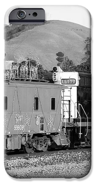 Historic Niles Trains in California . Southern Pacific Locomotive and Sante Fe Caboose.7D10843.bw iPhone Case by Wingsdomain Art and Photography