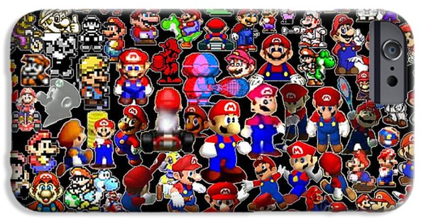 Old Digital iPhone Cases - History of Mario Mosaic iPhone Case by Paul Van Scott