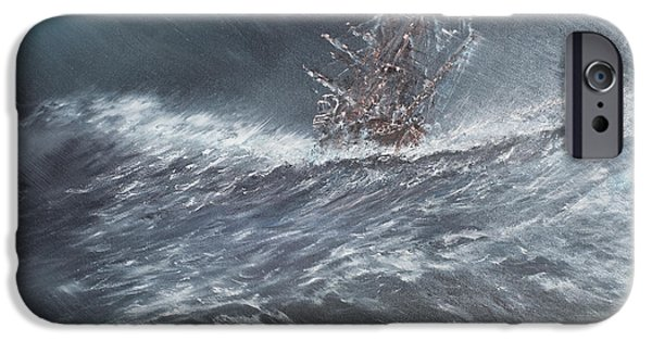 Beagles iPhone Cases - HMS Beagle in a storm off Cape Horn iPhone Case by Vincent Alexander Booth