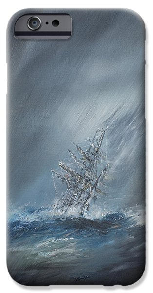 Beagles iPhone Cases - HMS Beagle in Storm off Cape Horn iPhone Case by Vincent Alexander Booth