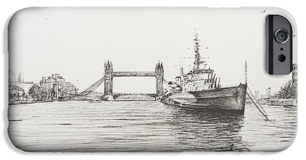 Seagull iPhone Cases - HMS Belfast on the river Thames iPhone Case by Vincent Alexander Booth