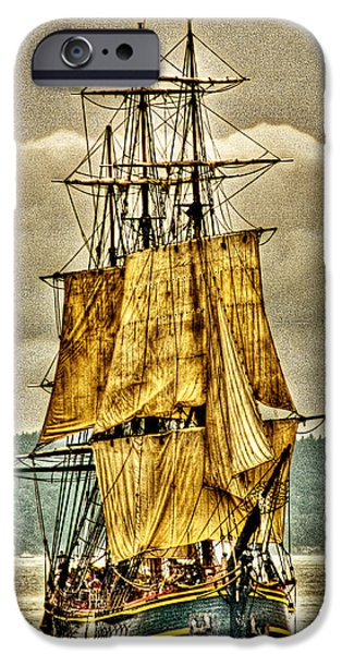 Tall Ship Digital Art iPhone Cases - HMS Bounty iPhone Case by David Patterson