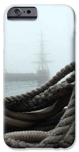 Maine Bounty iPhone Cases - HMS Bounty In The Eastport Fog iPhone Case by Rick  Blood
