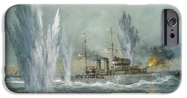 Navy iPhone Cases - HMS Exeter engaging in the Graf Spree at the Battle of the River Plate iPhone Case by Richard Willis
