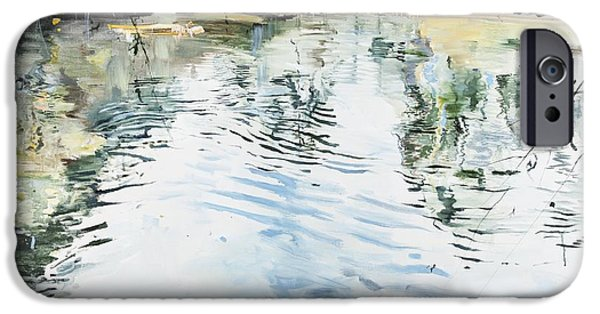 Reflecting Water Paintings iPhone Cases - Hobby House and Ripples iPhone Case by Calum McClure
