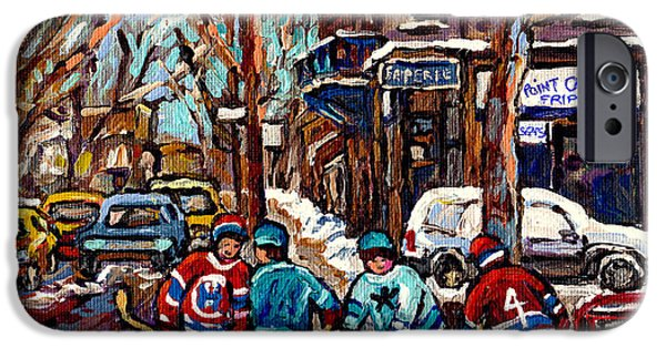 Hockey Paintings iPhone Cases - Hockey Art The Boys Of Psc Cold Day At The Pointe Friperie Canadian Art Original Painting C Spandau iPhone Case by Carole Spandau