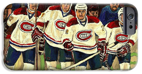 Carole Spandau Hockey Art Paintings iPhone Cases - Hockey Art The Habs Fab Four iPhone Case by Carole Spandau