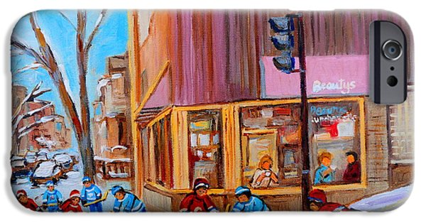 Hockey Paintings iPhone Cases - Hockey At Beautys Deli iPhone Case by Carole Spandau