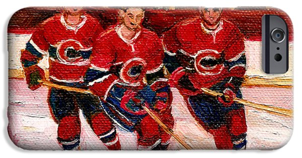 Stanley Cup Paintings iPhone Cases - Hockey At The Forum iPhone Case by Carole Spandau