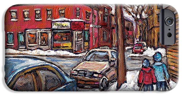 Hockey Paintings iPhone Cases - Hockey Buddies In The Pointe Connies Pizza Corner Paul Patates Montreal Winter Scenes Painting  iPhone Case by Carole Spandau