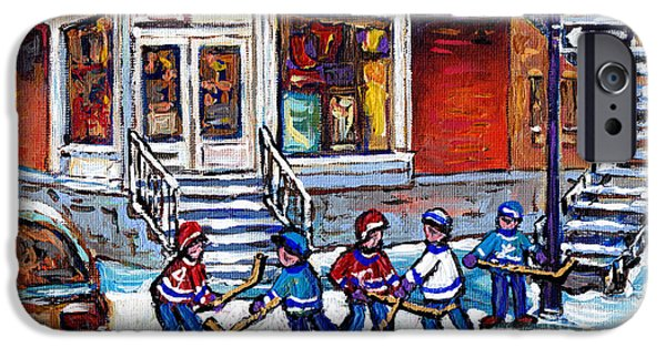 Hockey Paintings iPhone Cases - Hockey Game Art Coca Cola Corner Store Painting J Rene Rue Villeneuve At Grand Pre Montreal Scenes  iPhone Case by Carole Spandau