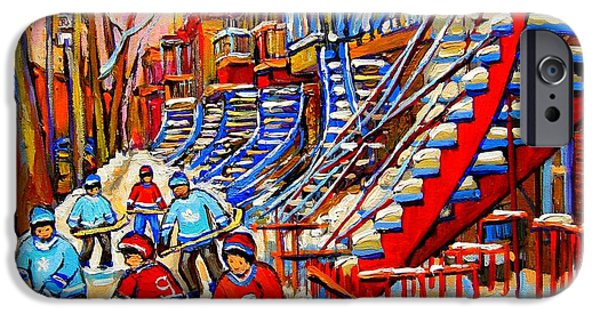Montreal Land Marks Paintings iPhone Cases - Hockey Game Near The Red Staircase iPhone Case by Carole Spandau