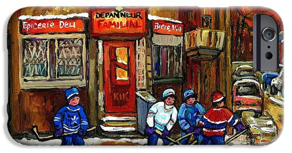 Hockey Paintings iPhone Cases - Hockey Game This Evening At Depanneur Familiale In Ville Emard Montreal Best Canadian Hockey Art iPhone Case by Carole Spandau