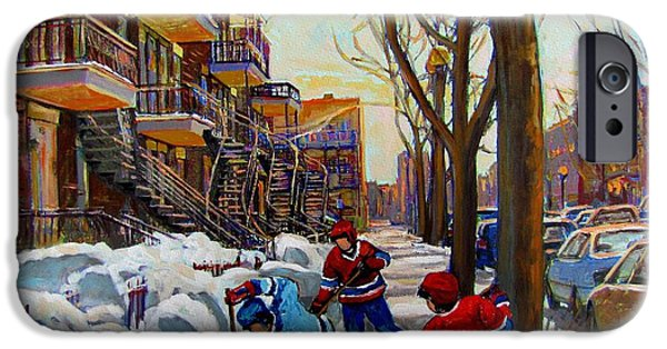 Montreal Land Marks Paintings iPhone Cases - Hockey On De Bullion  iPhone Case by Carole Spandau