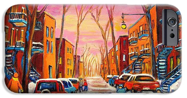 Afterschool Hockey Montreal Paintings iPhone Cases - Hockey On Hotel De Ville Street iPhone Case by Carole Spandau