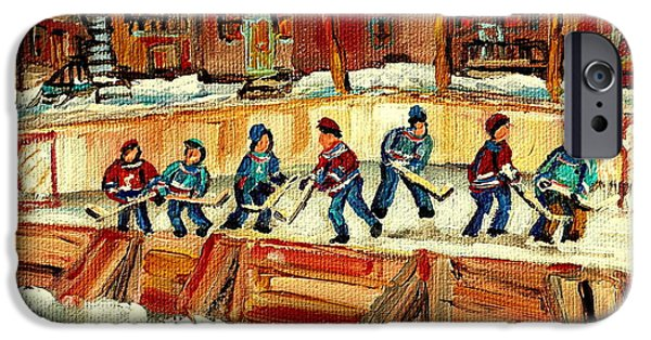 Afterschool Hockey Montreal Paintings iPhone Cases - Hockey Rinks In Montreal iPhone Case by Carole Spandau